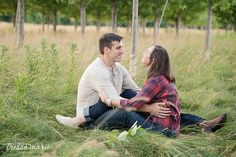 cream and plaid sunset apple orchard engagement session