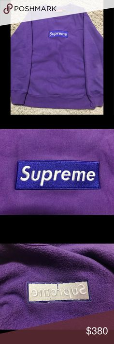 Supreme Purple on Purple Box Logo Crewneck You already know what it is!  Last one sold in an hour! New to poshmark but not new to selling 🙃 Only accepting offer close to 350$. Thanks Supreme Sweaters Crewneck