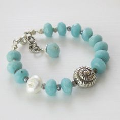 Amazonite, Labradorite, Handmade Silver Shell Bead, Pearl, Gemstone Bracelet via Etsy