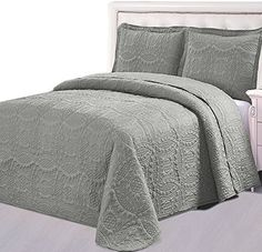Product review for Bedspread Set (Queen, Charcoal grey) - 3 Piece Luxurious Soft Brushed Microfiber Coverlet set - Quilted Embroidery Over sized Bed-Cover by Utopia Bedding.  - Spice Up Your Bedroom with our Lavish Bedspread set! Microfiber Goose down Alternative bedspread set is made of luxuriously brushed microfiber fabric that gives an extremely soft and comfortable feel. It gives your bedroom a sleek, classic and stylish look. Each set contains a bedspread and one....