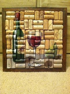 Botella de vino y vidrio pintura sobre corcho con por WineALotMore