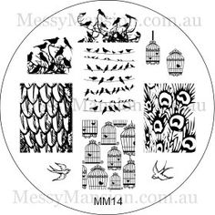 Nail Art Stamping Image Plate MM14 - Birdies #birdcages #birds
