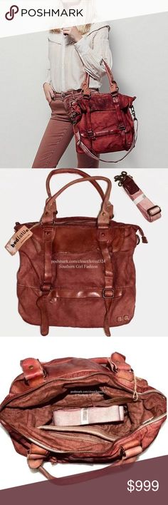 FREE PEOPLE Book Bag Intricate Rugged Travel Tote Brand New. $198 MSRP + Tax.   • Rugged canvas tote bag featuring real leather accents & intentional distressing. • Vintage-washed canvas exterior is light red in color with 1 zip pocket. • Self-lined interior includes 2 slip pockets & 2 zip. • 2 leather top handles with top zip closure. • Removable/adjustable canvas shoulder strap. • By Bed Stu for Free People.  { Southern Girl Fashion }   ✔️ Same-Business-Day Shipping (10am CT). ✔️ Price…