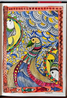Peacock and Fishes Today, I want to introduce you'll to a very popular Indian folk art called Madhubani, which literally translates into honey forest… Madhubani Paintings Peacock, Peacock Painting, Madhubani Art, Silk Painting, Indian Artwork, Indian Folk Art, Indian Paintings, Bird Paintings On Canvas, Canvas Art