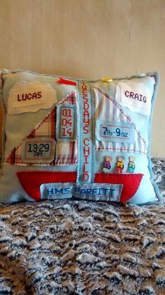 New Born Baby Boy Memory Cushion