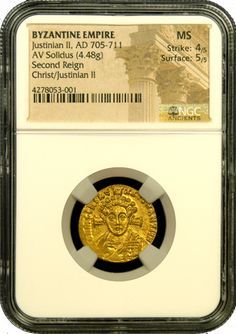 This is an exquisite, mint condition example of the second gold coin struck depicting Jesus Christ. Issued under Justinian II around 700 A.D., this coin has an excellent strike with flashy surfaces and has been awarded a mint state grade by NGC Ancients. Great coin for the price and highly recommended, also is listed in the book, 100 Greatest Ancient coins. Images Of Christ, Coin Art, Gold And Silver Coins, Silver Bullion, Silver Prices, Rare Coins, Artemis, Byzantine, Seals