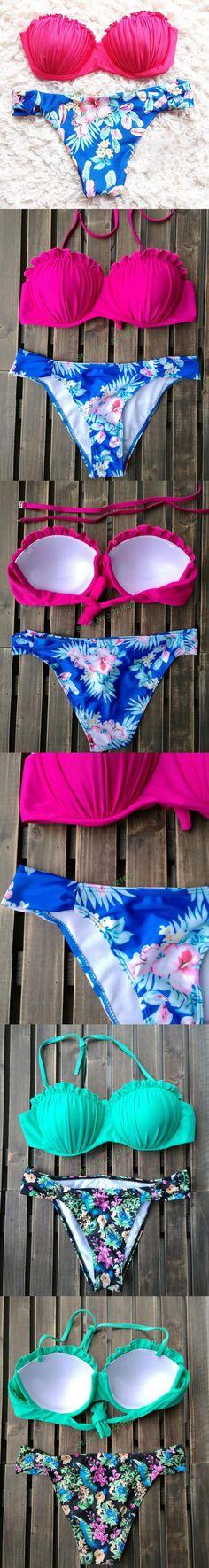 NEW 2015 lace bikini retro biquini mesh bikini set sexy contrast color bathing suits triangle swimwear biquini Brazilian, $13.99