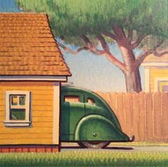 "Daily Paintworks - ""Garage"" - Original Fine Art for Sale - © Robert LaDuke Art Deco Artwork, Art Deco Posters, Impressionism Art, Vintage Illustrations, Fine Art Gallery, Travel Posters, Art For Sale, Painters, Vintage Art"