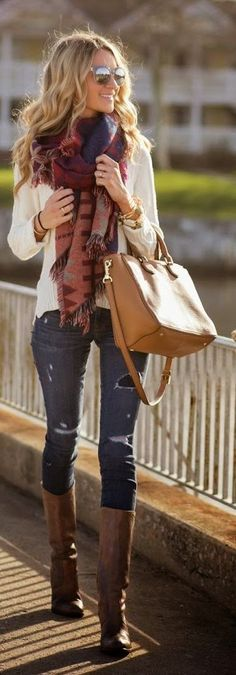 Latest fashion trends: Fall street fashion knit scarf jeans boots