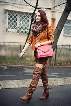 Discover this look wearing Dark Brown Over The Knee Stradivarius Boots, Brick Red Zara Bags - Cognac by Chaba styled for Comfortable, Everyday in the Winter Summer Boots Outfit, Thigh High Boots Outfit, Winter Boots Outfits, Boho Summer Outfits, Winter Skirt Outfit, Spring Work Outfits, Summer Outfits For Teens, Boot Outfits, Knee Boots
