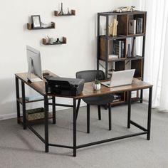 Home Office Table, Home Office Setup, Home Office Design, Office Workspace, Computer Desk With Shelves, Computer Desks For Home, L Desk Gaming Setup, Table D'angle, L Shaped Corner Desk