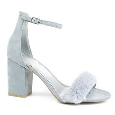 Gray by Wild Diva, Gray retro block heel w faux fur toe trimming ankle strap Dress Sandals, Dress Shoes, Knee High Boots Dress, Evening Sandals, Open Toe Shoes, Sneaker Boots, Types Of Shoes, Ankle Booties, Block Heels