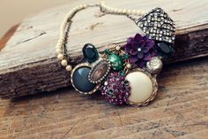 Upcycled Junk Jewelry Statement Necklace-  <3