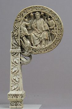 Ivory Crozier Head with Christ in Majesty and Throne of Wisdom   Italian or German   The Met