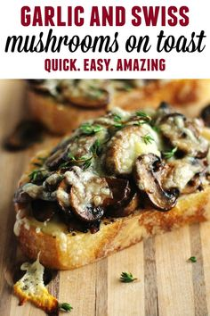 Quick and easy cheesy mushroom toast recipe! Sauteed mushrooms on toast with mustard, fresh thyme, and melted swiss cheese. A hearty, savory vegetarian meal. // Rhubarbarians // Open faced mushroom me Veggie Recipes, Appetizer Recipes, Dinner Recipes, Cooking Recipes, Meat Appetizers, Vegetarian Recipes With Mushrooms, Easy Vegetarian Meals, Dinner Ideas, Avocado Recipes