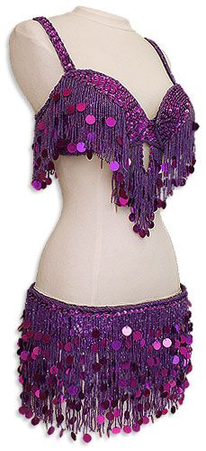Purple Fringe & Paillettes Egyptian Bra & Belt In Stock Belly Dance Costume - At DancingRahana.com