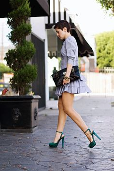 Prince of Wales check, ruffles and green python pumps - Karla's Closet