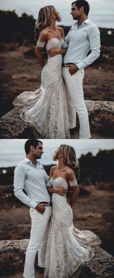 Mermaid Sweetheart Sweep Train Lace Beach Wedding Dress by Hiprom, $376.00 USD