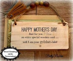 Funny mother's day card, personalised  luxury wooden keepsake card