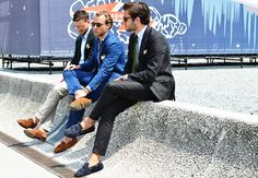 Love the driving shoes with their suits- Italian Street Style -