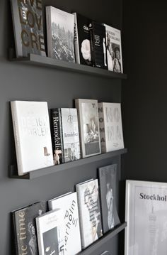 Black wall, books