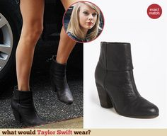 Taylor Swift's black ankle boots. Outfit Details: http://wwtaylorw.com/3137