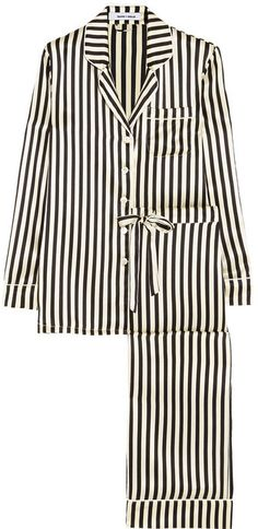 Olivia von Halle Lila Nika striped silk-satin pajama set
