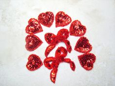 SET of HEARTS and BOWS Sequined Appliques in True by BunnysLuck, $7.99