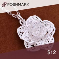 925 Sterling Silver Plated Heart Flower Necklace! 🌺 ❤️ 925 Sterling Silver Plated heart flower necklace! 🌺 ❤️ Beautiful necklace in person! Picture doesn't do justice! A must have item! ❤️ Jewelry Necklaces