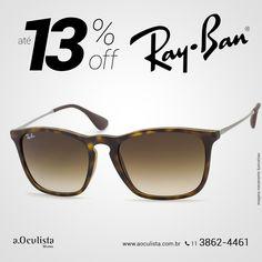 Óculos de Sol Ray Ban com até 13% de desconto  Compre pelo site em até 10x Sem Juros e Frete Grátis nas compras acima de R$400,00 reais.  Acesse: https://aoculista.com.br/ray-ban  #rayban #glasses #sunglasses #eyeglasses #oculos