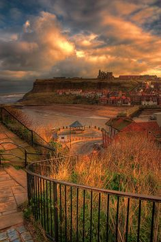 View down to the harbour entrance in Whitby, North Yorkshire, England.