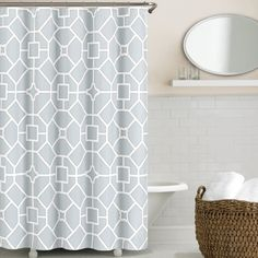 Echelon Home's Gramercy shower curtain features a geometric pattern in soft colors for an instant update to your bathroom. The design is printed on high-quality twill cotton polyester blend fabric for easy care.