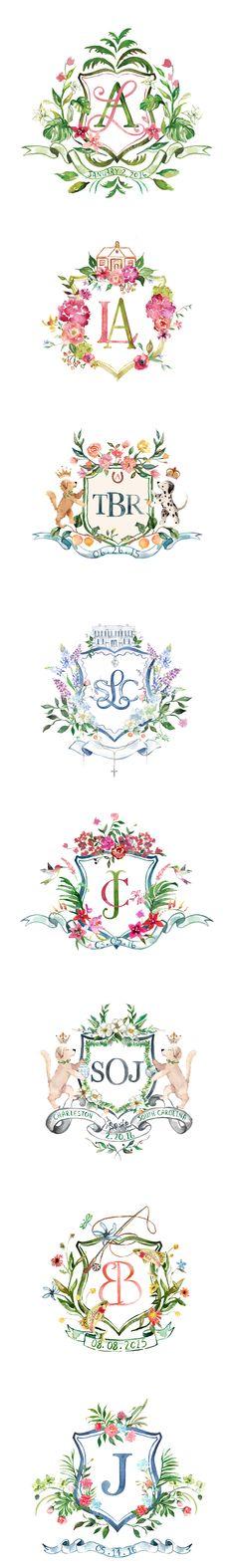 Arabella June: Watercolor Wedding Crests