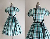 Vintage 50s Dress / 1950s Cotton Dress / Mode O Day Turquoise and Black Checkered Dress XS