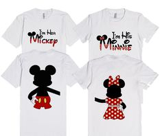 I'm her Mickey & I'm his Minnie Mouse with back design matching T-shirts by… Disney Couples, Disney Shirts For Family, Disney Family, Disney Fun, Disney Style, Disney World Vacation, Disney Vacations, Disney Trips, Disney Inspired Fashion