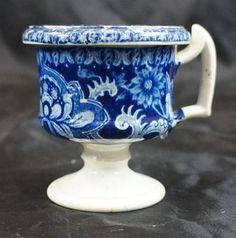 Antique Staffordshire Dark Blue Transferware Child's Handled Cup.