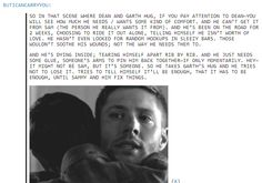 I don't know who wrote this, but it was written perfectly and exactly what I was thinking during this moment when watching the show. The sad thing is Garth has no idea what's truly going on and how much that hug is worth <3 #SPN #Dean