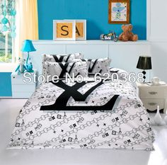 Black and white comforter set brand Logo printed bedding sets100%Cotton Queen king  Doona duvet covers bedspread  pillowcase  $93.99 - 98.99
