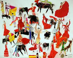 Flamenco Dancers and Bull Fighters Nicole Appel Pencil on paper 2013 Image courtesy of Land Gallery Outsider Art Fair, Sarah Lawrence College, Bullen, Flamenco Dancers, Hand Art, Inspirational Wall Art, First Art, Lettering Design, Book Art