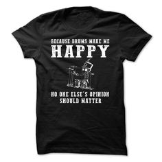 Drums make happy T-Shirts, Hoodies. GET IT ==► https://www.sunfrog.com/Funny/Drums-make-happy.html?id=41382