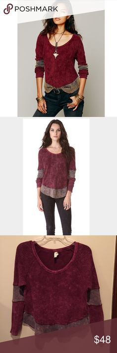 Free People thermal - size small. Free People thermal - size small. Two-toned long sleeve thermal top with block-colored hem and sleeve hens. Cozy and lightweight. Easy to layer. Raw edge hems. Made with casual cottons that have a lightly distressed and perfectly worn in feel.  Color is labeled red, but it's more magenta. Free People Tops