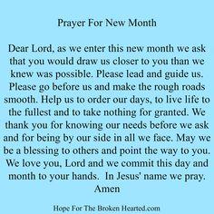 Prayer for new month