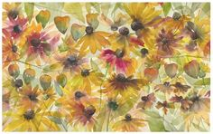 Jake Marshall watercolor. Chinese lanterns and sunflowers painted at Powell Gardens.