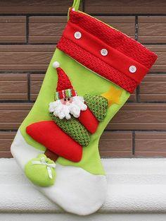 Xmas Tree Decor Santa Hanging Christmas Gift Stocking Bag - RED AND GREEN