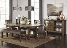 Tamilo Gray/Brown Rectangular Dining Room Extension Table w/4 Side Chairs, Bench and Server, /category/dining-room/tamilo-gray-brown-rectangular-dining-room-extension-table-w-4-side-chairs-bench-and-server-1.html