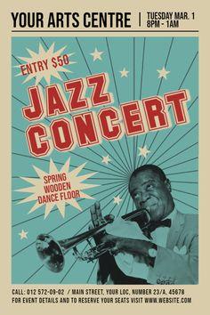 Vintage Jazz Concert Design Flyer/Leaflet/Poster A Poster Cars, Jazz Poster, Poster Design, Graphic Design Posters, Jazz Concert, Concert Flyer, Music Background, Poster Festival, Vintage Concert Posters