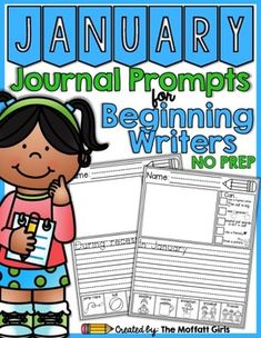 Writing is a skill that requires daily practice! These simple journal prompts are designed to help beginning writers build confidence, practice articulating thoughts, work on fine motor skills and proper letter formation.    This January NO PREP Packet includes the following: Two versions of the journal prompts * 21 journal prompts with a starter phrase *21 of the same journal prompts without the starter phrase for more advanced writers. *Journal Cover * Sight Word List - Simple sight words…