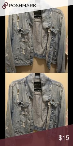 Light distressed demin jacket Light blue distressed demin jacket in size 3x pair it with your favorite maxi Forever 21 Jackets & Coats Jean Jackets
