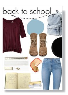 """""""Back to school"""" by andreastoessel ❤ liked on Polyvore featuring H&M, Rick Owens, American Eagle Outfitters, 7 For All Mankind, Kate Spade and Deborah Lippmann"""