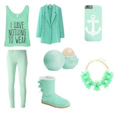 """Mint winter"" by unicornjaz1 ❤ liked on Polyvore featuring UGG Australia, Blumarine, Chicwish and Eos"